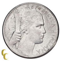1950 Italy 5 Lire Coin Aluminum About Uncirculated Condition - $24.79