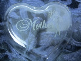 Crystal Clear Glass Etched ~ Heart shaped ~ Lidded Trinket OR Gift Box ~... - $6.99