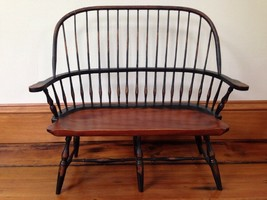 """UpperDeck Ltd Colonial Style Wooden Doll Teddy Bear Bench 15"""" Tall 15"""" Wide - $100.00"""