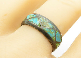 925 Sterling Silver - Vintage Turquoise Triangle Pattern Band Ring Sz 9 ... - $26.81