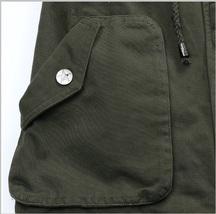 Army Green Cotton Denim Zip Up With Adjustable Drawstring Waist Vest Jacket   image 5