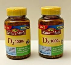 2 Nature Made D3 1000IU Support Bone Muscle Immune Health Vitamin D 180 Softgels - $18.99