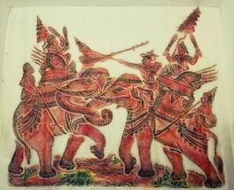 Vtg Japanese Oriental Art Japanese Warriors Elephants Samurai Chinese Ba... - $15.99