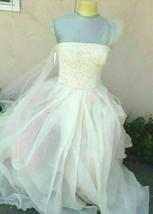 Vera Wang Eva Wedding Dress Gown Ivory Sz 8 Strapless Bridal Lace Tulle ... - $1,330.00