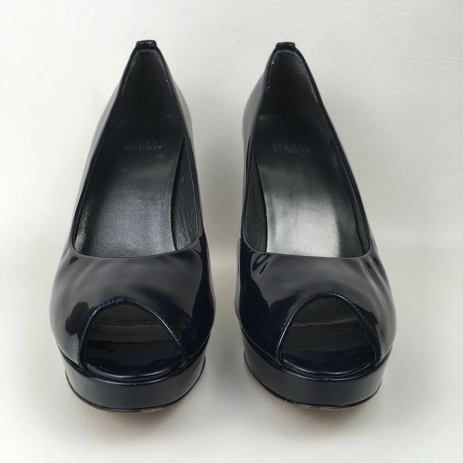 Stuart Weitzman Ladies Navy Patent Peep Toe Shoes US 8.5 UK 6