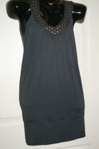 Twenty One 21 Tunic Dark Gray Low Racerback Dress with Copper Accents Sz S - $18.59