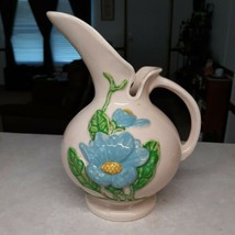 Vintage MCM Hull Art Pottery Pink Pitcher Vase With Blue Flower H-11 8½ ... - $24.75