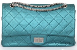 CHANEL Bag Metallic Leather 2.55 Reissue 227 Teal Flap Shoulder Rutheniu... - $3,581.50