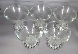 Anchor Hocking 5 - Bubble Boopie Sherbets Champagne Clear Glass 6 Oz  Vintage - $8.00