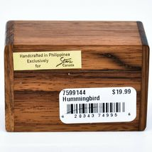Northwoods Wooden Parquetry Hummingbird Bird at Flower Mini Trinket Box image 5