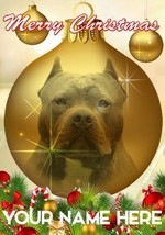 American Pit Bull Bauble Merry Christmas Personalised Greeting Card Xmas CodB184 - $3.88