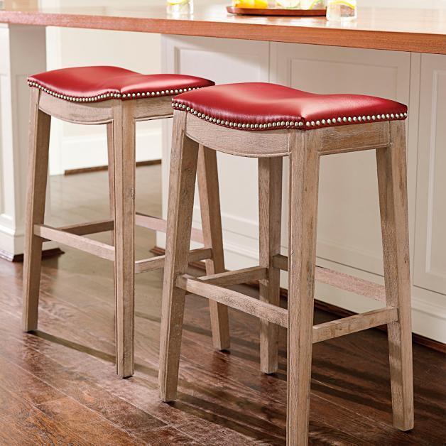 Leather Nailhead Seat Light Oak Wood Saddle Bar Stool 30