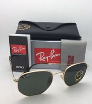New RAN-BAN Sunglasses HEXAGONAL RB 3548-N 001 48-21 140 Gold Frame w/ G15 Green image 9
