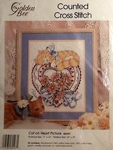 """""""Cat on Heart Picture"""" Counted Cross Stitch Kit By Golden Bee ~ 11"""" X 14"""" ~ #604 - $4.63"""