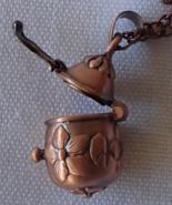 Antique Copper Finish Egg Shaped Keepsake Locket Necklace Treasure Prayer Wish   - $17.99