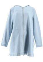 Denim& Co Comfy Knit Denim Zip Front Jacket Bleach Wash L NEW A349710 - $33.64