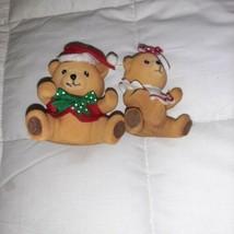 Vintage FLOCKED Christmas Ornaments TEDDY BEARS lot of 2 - $14.99