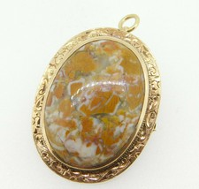 10k Gold Oval Genuine Natural Agate Pin / Pendant Hand Engraved (#J4308) - $180.00