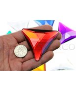 68mm Red Ruby H103 Flat Back Triangle Acrylic Gems Pro Grade Individuall... - $9.26