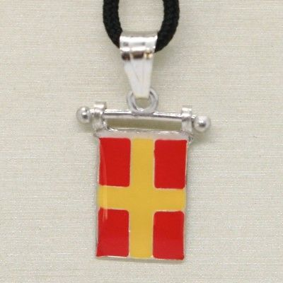 SOLID 925 STERLING SILVER PENDANT WITH NAUTICAL FLAG, LETTER R, ENAMEL, CHARM