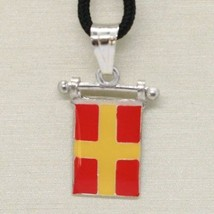 Solid 925 Sterling Silver Pendant With Nautical Flag, Letter R, Enamel, Charm - $44.55