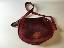 Fossil VRI  Cranberry Red Calf Hair & Leather Flap Crossbody Bag SHB1107608 - $63.70