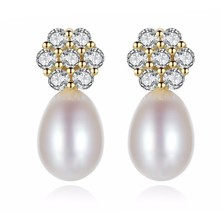 Real 925 Sterling Silver Freshwater Natural Pearl Cubic Zirconia - $13.99