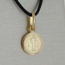 SOLID 18K YELLOW GOLD ST SAINT BENEDICT 9 MM MINI MEDAL WITH CROSS MADE IN ITALY