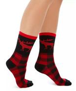 Womens Moose Crew Socks Buffalo Check Black Red One Pair CHARTER CLUB - NWT - $3.95