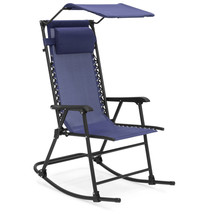 NEW! Backyard Patio Rocking Recliner Chair With Sunshade Canopy - $84.04