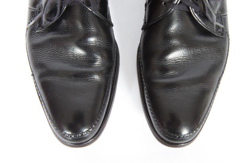Vtg Florsheim Black Leather Dress Shoes Oxford Pebbled Moccasin Toe Mens 11.5 A