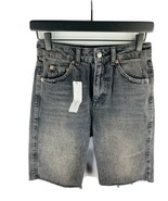 NWT TOPSHOP Women's Denim Cut-Off Shorts Cotton Mid-Rise Gray Wash Cut-O... - $12.86