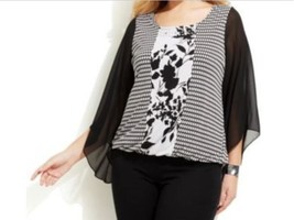 Women's Church Cruise party Occasions Office Abstract Blouson Top Tunic plus 1X - $59.39