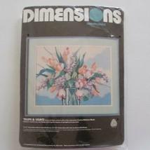 Dimensions Needlepoint Kit Tulips Lilacs 2328 Barbara Mock 1987 - $34.64