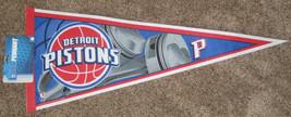 "NEW DETROIT PISTONS PENNANT BASKETBALL NBA FULL SIZE 30"" X 12"" BLUE NWT - $8.59"