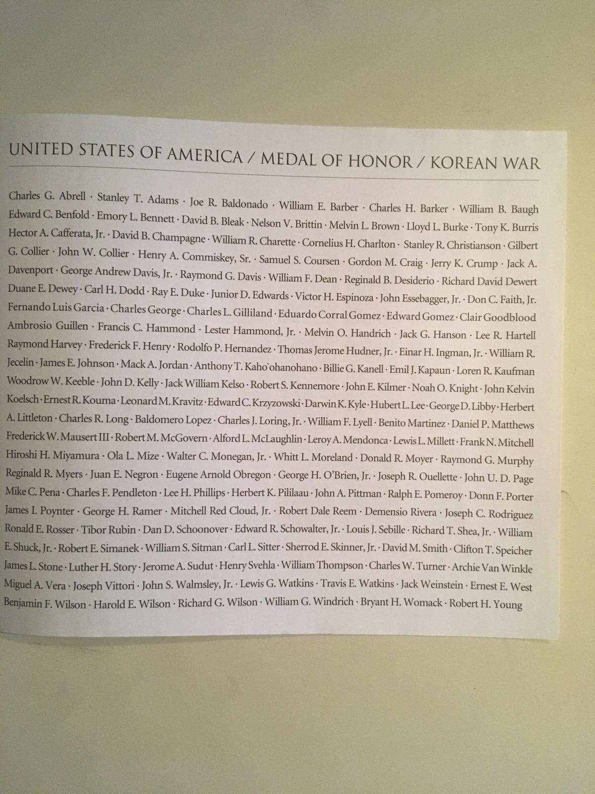 US Medal of Honor, 20 Korean War Stamps
