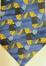 NEW Ermenegildo Zegna Blue and Gold With Tulips Silk Tie - $51.09