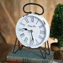 Country VINTAGE TIME TABLE CLOCK Farmhouse Rustic Tabletop Primitive French - $51.99