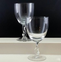 Fostoria Contour Water Goblets Set of 2 Crystal Glasses S-Shaped Stem 10oz - $22.77