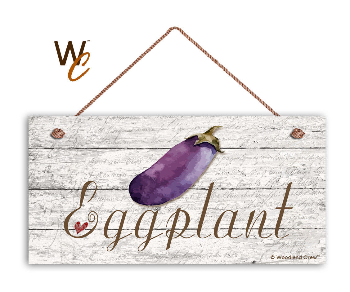 """Eggplant Sign, Rustic Style Garden Sign,  5"""" x 10"""" Wood Vegetable Sign, Kitchen"""