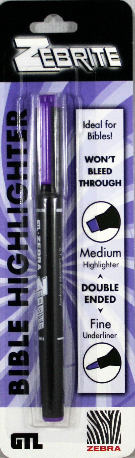 Primary image for Violet Zebrite Double Ended Highlighter Carded Medium & Fine No Bleed Thru