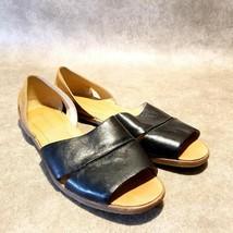 Franco Sarto Womens Vivace  Sz 7.5 M Black Two Tone d'Orsay Flat Slip On Strap - $27.99