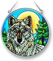 "Midnight Watch Wolf Sun Catcher AMIA 4.5"" Round Hand Painted Glass New - €19,83 EUR"