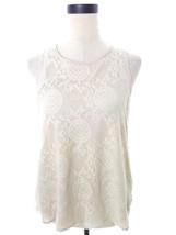 Beige Lace Blouse Medium Top Sleeveless - $15.00