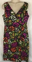 R & K Originals Dress SZ 8 Bold Floral Sleeveless Short V-Neck and Back ... - $18.76