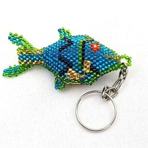 Blue Intricate Handmade Beaded Fish Keychain   - $13.96