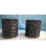 Pair of T-lite Candle Holders copper color metal bottom with black beads - $13.85