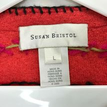 Susan Bristol Wool Cardigan Sweater Size Large L Button Front Hand Embroidered image 3