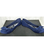 American Eagle Women's Faux Suede Flats Size 7 1/2 M Blue with Bows - $23.48