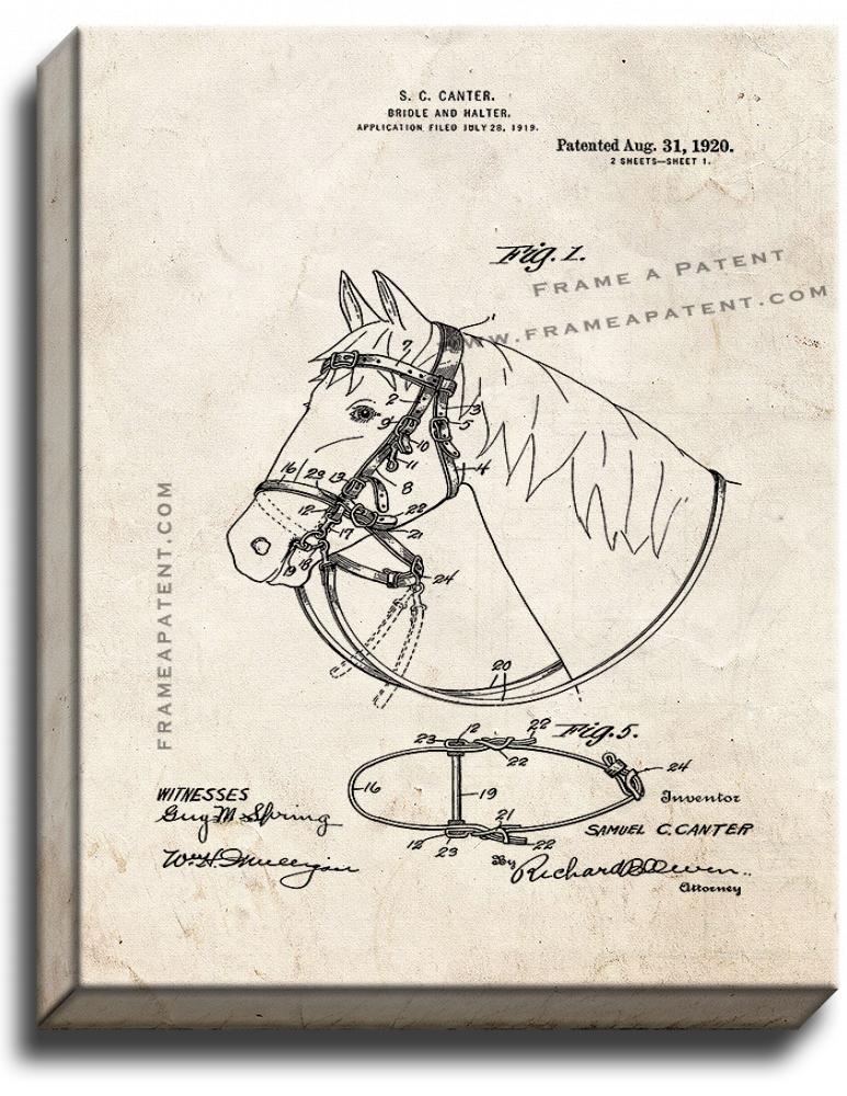 Primary image for Horse Bridle And Halter Patent Print Old Look on Canvas